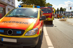 Fire-brigades. Several fire trucks are standing in use on a road Royalty Free Stock Photography
