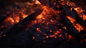 The fire, bright embers which transmit the sensation of heat Stock Image