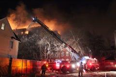 Fire In Brooklyn, New York. Five alarm fire in Flatbush, Brooklyn New York on February, 19th 2011 Royalty Free Stock Image