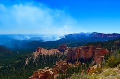 Fire at Bryce canyon national park royalty free stock photography