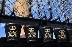 Fire buckets on HMS Victory. Royalty Free Stock Photography