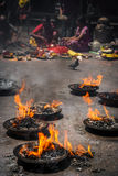 Fire in the Buddhist Temple Royalty Free Stock Images
