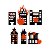 Fire  building. Set of icons lit city buildings. Emergency incident. Destruction of municipal and public houses. burning skyscraper Stock Photo