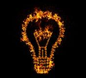 Fire Bulb. Flaming light bulb isolated on black backgeound. Emergence of the idea, Eureka creativity concept stock photography