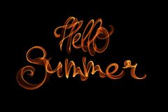 Fire burn hello summer lettering word isolated on black background.  royalty free illustration