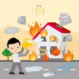Fire Burn House Home Boy Danger Help Cartoon Character Vector. Design Royalty Free Stock Photography