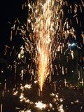 Fire burn night. Loy Krathong Day Celebrate with fireworks stock images
