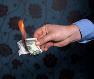 Fire burn one hundred dollars Stock Photos