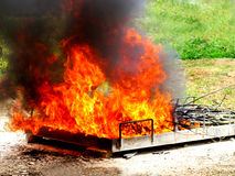 Fire burn rubbish Stock Photos