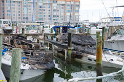 Fire burned boats accident at marina Royalty Free Stock Photos