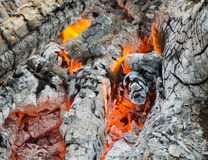 Fire and burned charcoal. Burned charcoal and ash from fire Stock Photos