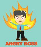 Fire burning Angry Boss Vector Business concept. Fire burning Angry Boss Vector character Business concept Royalty Free Stock Images