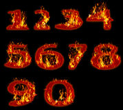 Fire burning on arabic number zero to nine Royalty Free Stock Image
