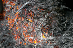The fire from the burning bales of soya. Photographed stove in a small village near Novi Sad, Serbia royalty free stock photo