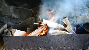 Fire burning for barbecue stock video footage