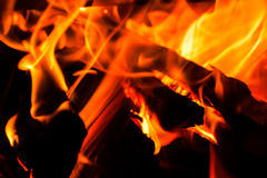 Fire. Burning in black background Royalty Free Stock Photo