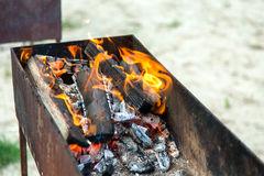 Fire burning in the brazier Royalty Free Stock Images