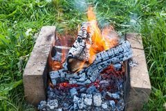 Fire burning in a campfire royalty free stock photography