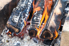 Fire burning in a campfire stock photos
