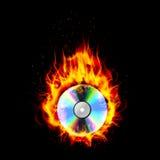 Fire burning CD black background. Illustration of Fire burning CD black background Royalty Free Stock Images