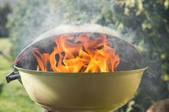 Fire and burning charcoal in a grill Royalty Free Stock Photo