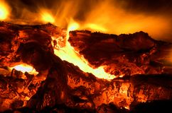 Fire burning close up Royalty Free Stock Photos