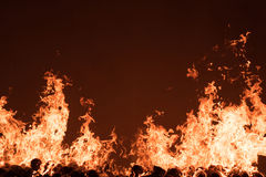 Fire burning. On coconut shell Stock Photo