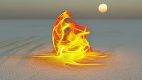 Fire. Burning in desert Sands Royalty Free Stock Image
