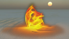 Fire burning in desert. Sands Stock Images