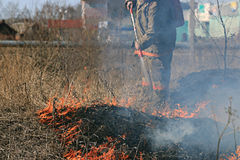 Fire burning dry grass dangerously Royalty Free Stock Images