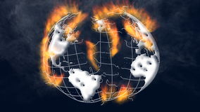Fire burning earth stock video footage