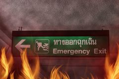 Fire burning in the Emergency Exit Royalty Free Stock Photo