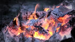 The fire is burning, the fire close-up. Rain raindrops, dripping rain drops on the glass, gray cloudy weather rainy stock footage