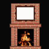 Fire Burning in Fireplace with Picture Frame. Brick fireplace with a fire burning and a picture frame hanging over the mantel with a white blank background Royalty Free Stock Photos