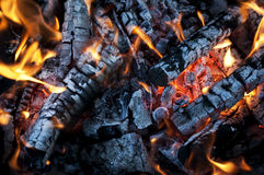 Fire from burning firewood with ashes and flames Stock Photos