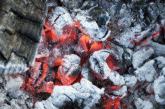 Fire from burning firewood with ashes and flames Royalty Free Stock Photos