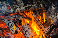The fire burning firewood Royalty Free Stock Photos