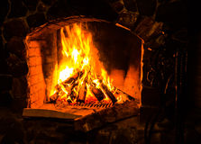 The fire burning firewood Stock Photography