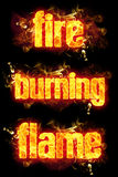 Fire Burning Flame Text. Black background Stock Image