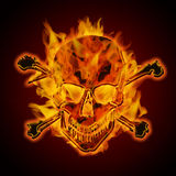 Fire Burning Flaming Skull Crossbones. Fire Burning Flaming Metal Skull with Crossbones on Dark Background Illustration Royalty Free Stock Photos