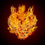 Fire Burning Flaming Skull with Horns. On Dark Background Illustration Stock Image