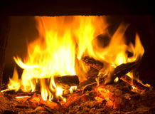 Fire burning in the furnace Royalty Free Stock Photos