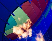 Fire in hot air balloon Royalty Free Stock Images