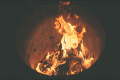 Fire Burning Inside Fire Pit during Nighttime Stock Photo