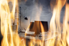 Fire Burning Inside The Office Royalty Free Stock Photo