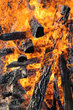 Fire, burning logs Stock Photos