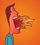 Fire burning on man mouth. Cartoon illustration of man with burning mouth after eating spicy food or really angry Stock Images