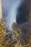 Fire burning rice straw Stock Photos
