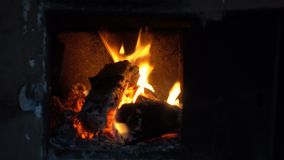 Fire burning in the stove. Stove stock footage