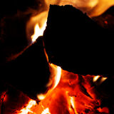 Fire burning. In the stove, shot from close Royalty Free Stock Photography